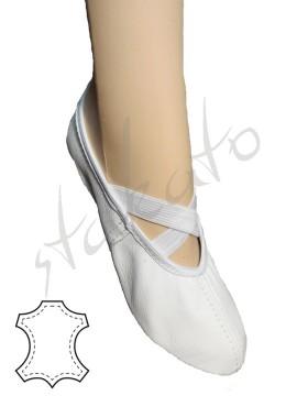 Baletki skórzane z gumkami