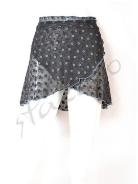 Short wrap skirt Black Poppy Juli Garden