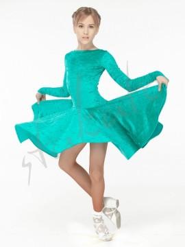 Sukienka turniejowa welurowa z długim rękawem