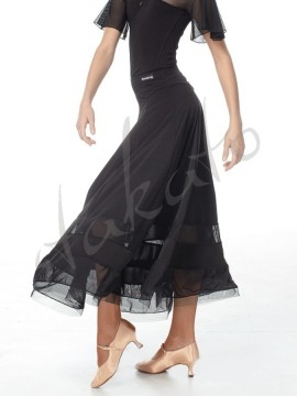 Long training skirt with mesh and crinoline