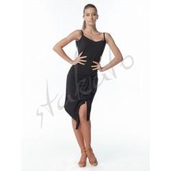 Sukienka asymetryczna z drapowaniem i siateczką