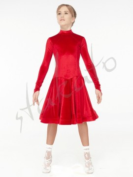 Stand up collar velvet dress for girls