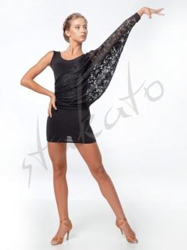 Sukienka asymetryczna z rękawem nietoperz i koronką