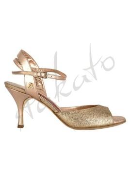 Tangolera style A2 Glitter Rame Laminato Rosa T7