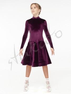 Stand up collar velvet dress for girls