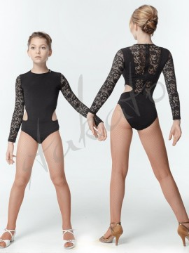 Mesh leotard with openings
