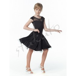 Girls' practice dress with polka doted mesh