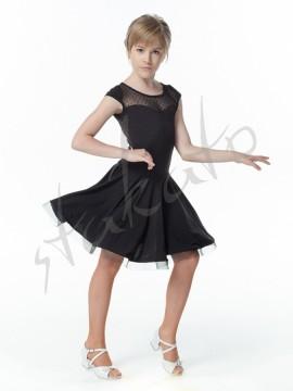 Sukienka treningowa dziewczęca z siatką w grochy