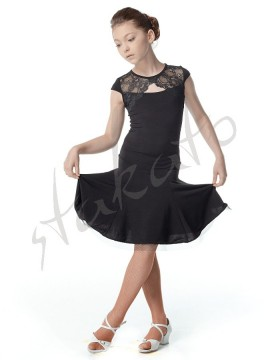 Girls' practice dress with lace neckline