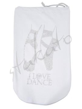 I LOVE DANCE glittery pointe shoe bag
